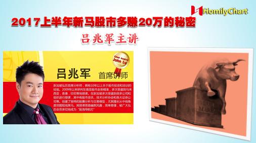2017上半年新马股市多赚20万的秘密,由新加坡首席讲师吕兆军先生主讲。课程将通过对目前1月和2月初的股市走势分析来做出全年股市展望和黑马潜力牛股的点评,课程内容精彩,好料不断,不可错过!